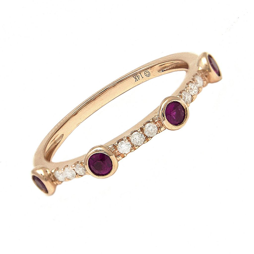 14K Ruby and Diamond Bezel Ring