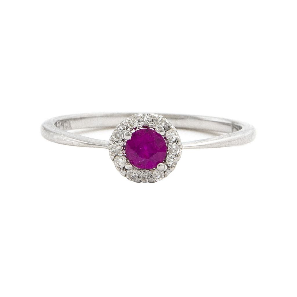 14K Ruby Halo Diamond Ring