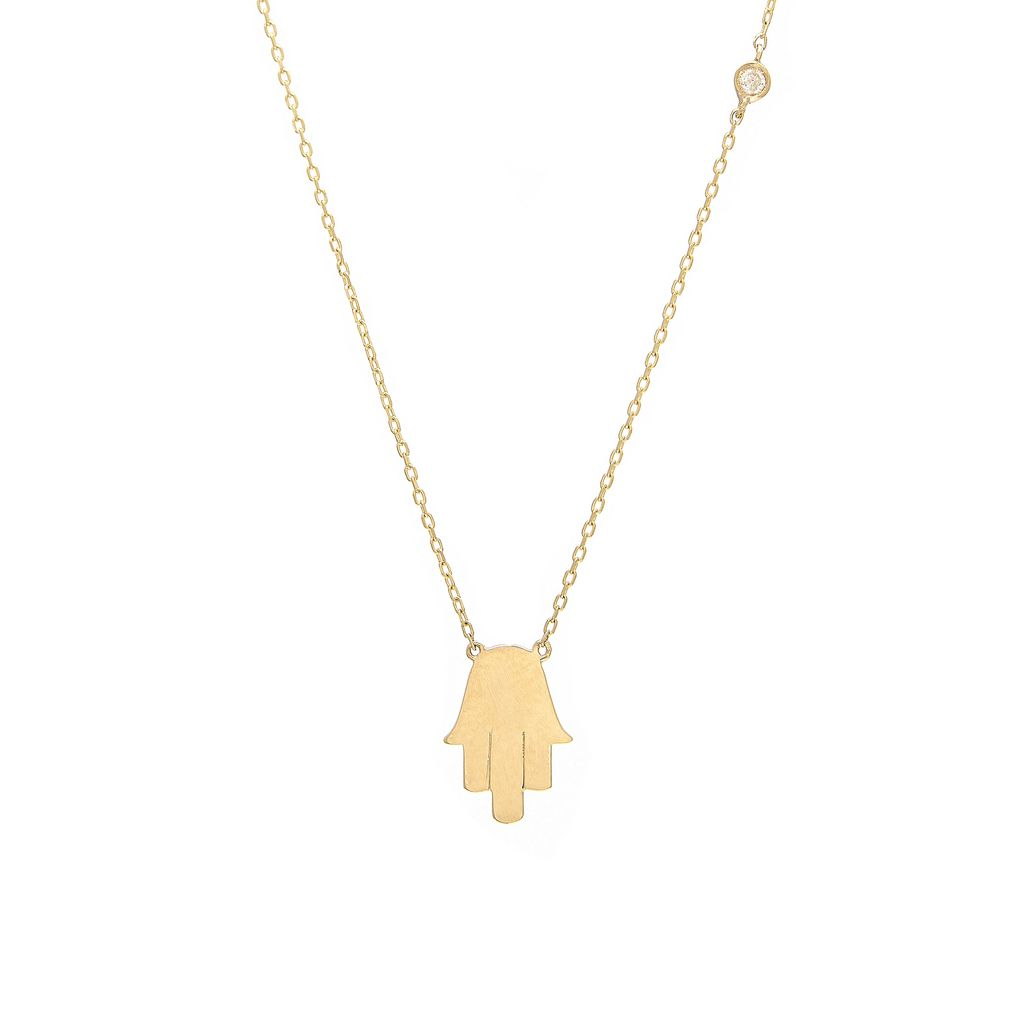 Single Bezel Hamsa Necklace