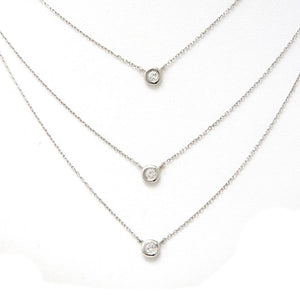 Triple Layer Bezel Diamond Necklace