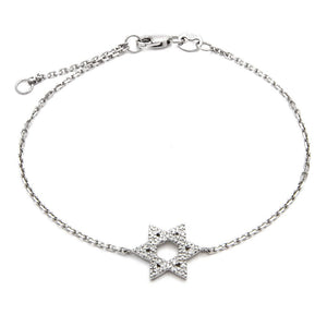 14K Single Star of David Diamond Bracelet