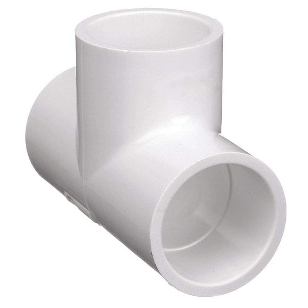 Sch40 PVC Tee, Socket, White, 2""