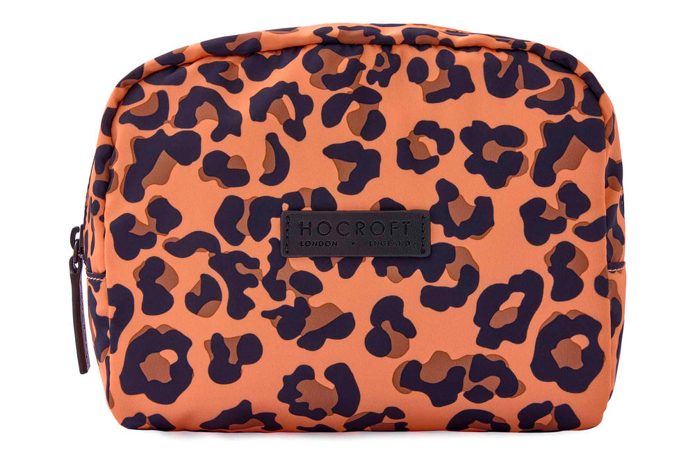 Daphne Makeup Bag Peach Leopard