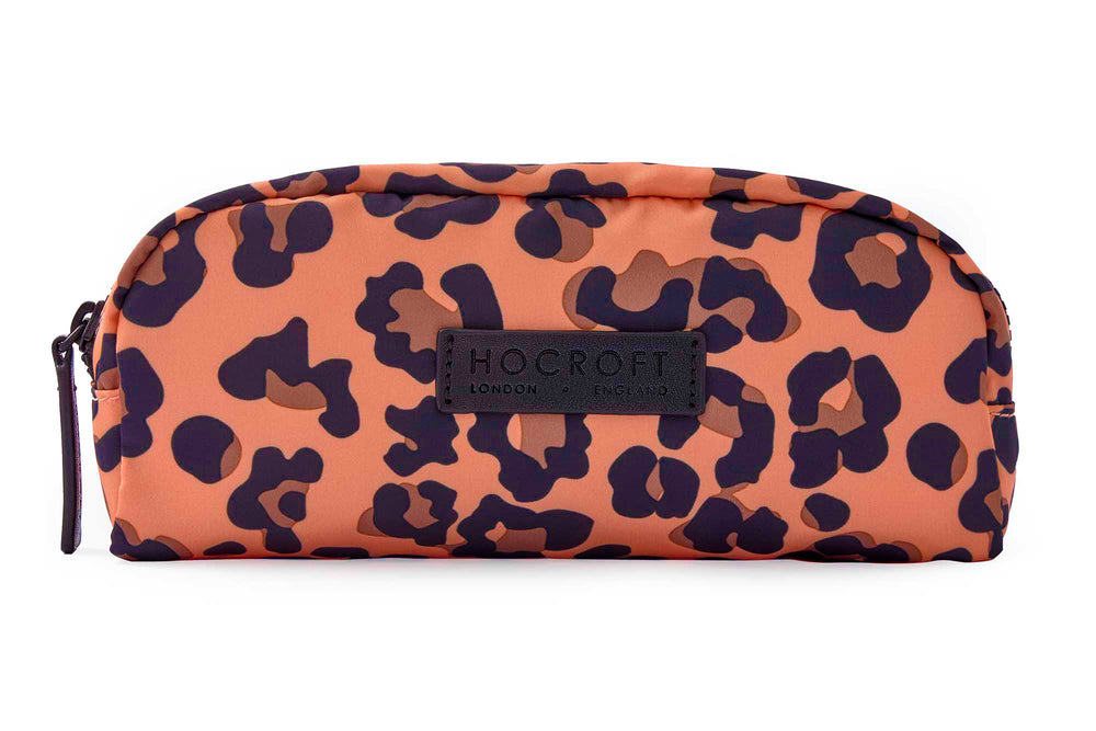 Sophia Small Makeup Bag Peach Leopard