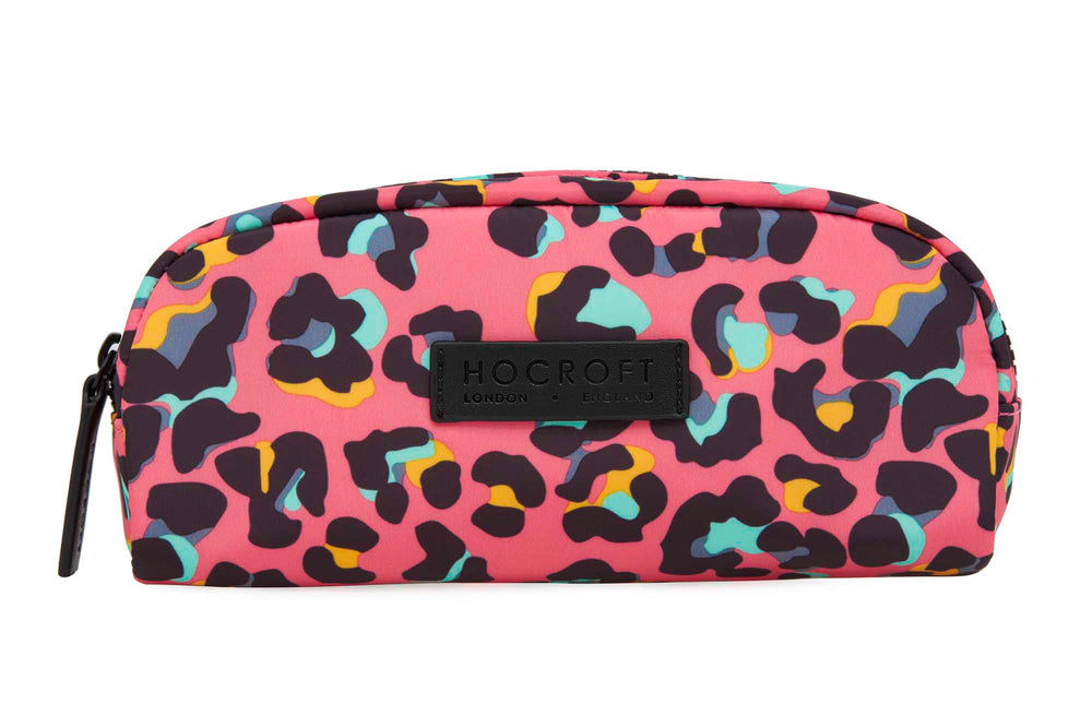Sophia Small Makeup Bag Pink Leopard