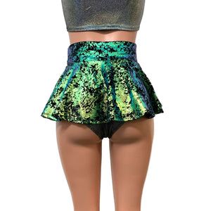 "10"" Mini Rave Skirt - Green on Black Gilded Velvet Skater Skirt - Peridot Clothing"