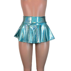 "10"" Skater Skirt - Jade Blue Holographic - Peridot Clothing"