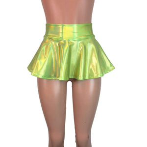 "10"" Skater Skirt - Lime Green Holographic - Peridot Clothing"