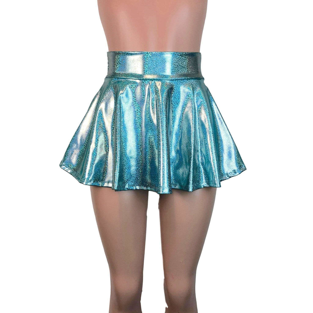 "13"" Skater Skirt - Jade Blue Holographic - Peridot Clothing"