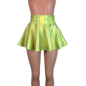 "13"" Skater Skirt - Lime Green Holographic - Peridot Clothing"