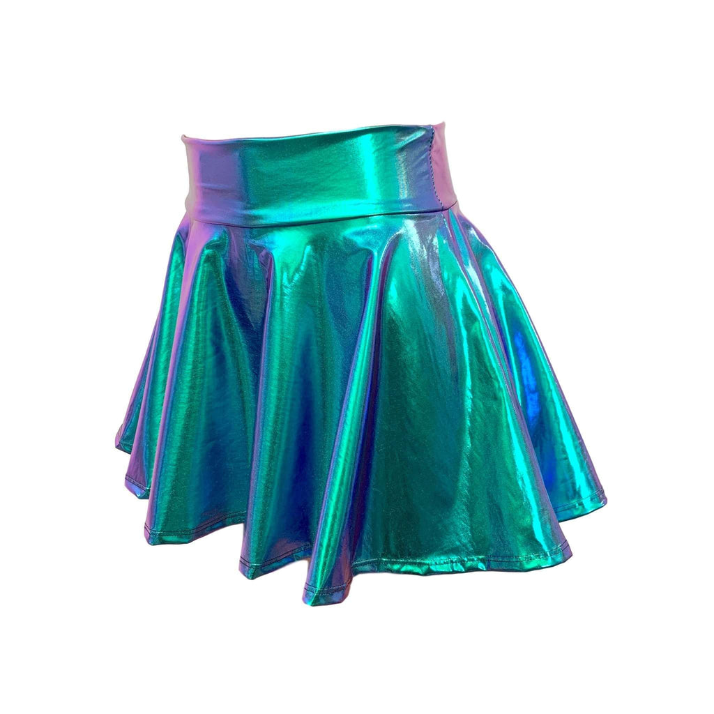 "13"" Skater Skirt - Oil Slick Holographic - Peridot Clothing"
