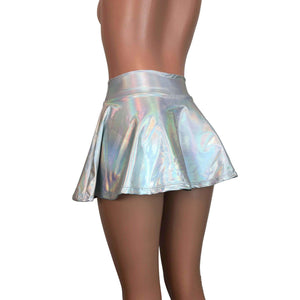 "13"" Skater Skirt - Opal Holographic Iridescent - Peridot Clothing"