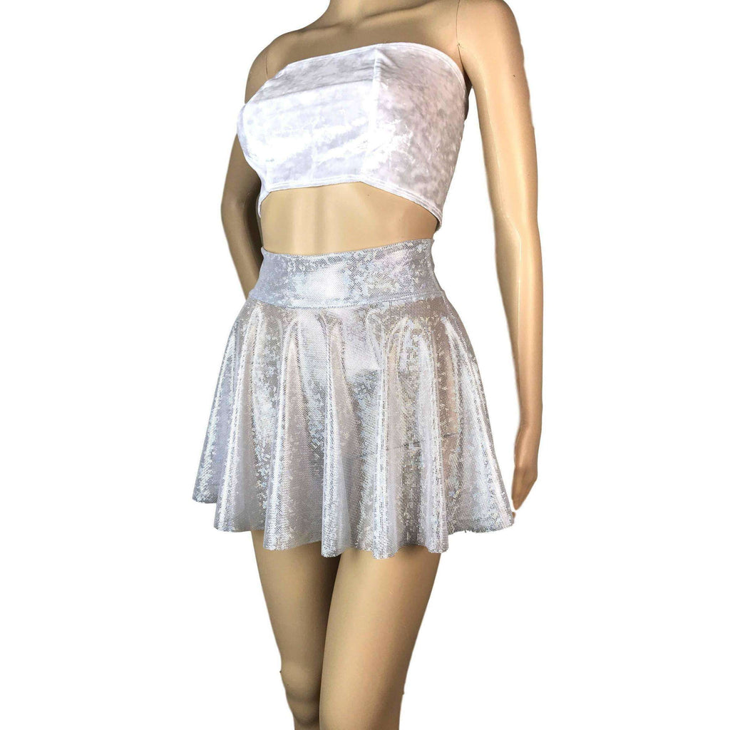 "13"" Skater Skirt - Sheer Silver on White Shattered Glass Mesh - Peridot Clothing"
