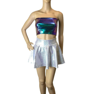 "13"" Skater Skirt - Silver Holographic - Peridot Clothing"