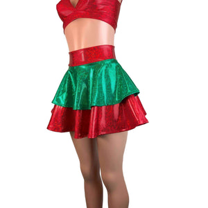 2-Layer Skater Skirt - Elf Holographic Shattered Glass Red and Green - Peridot Clothing