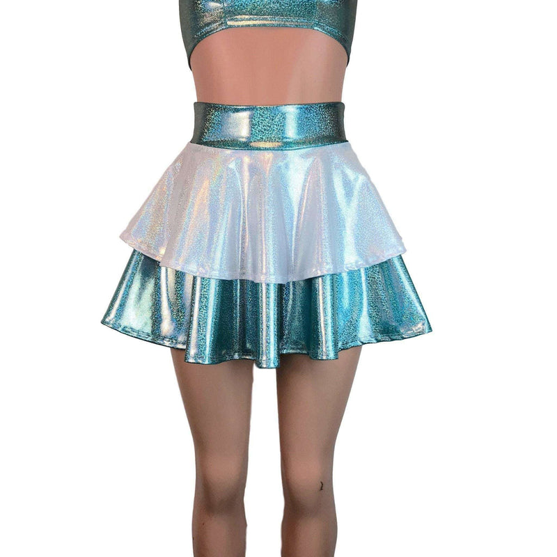 2-Layer Skater Skirt - Jade W/ White Holographic Mystique - Peridot Clothing