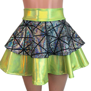 2-Layer Skater Skirt - Lime W/ Silver Glass Pane Holographic - Peridot Clothing