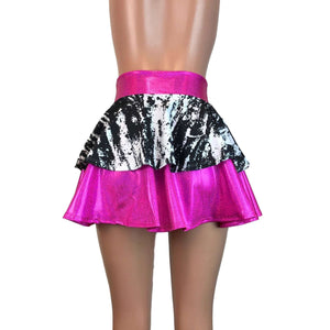 2-Layer Skater Skirt - Pink Holo W/ Black & White - Peridot Clothing