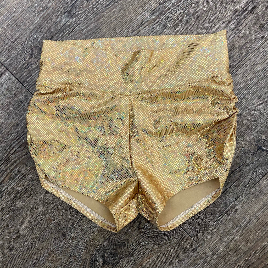 SALE - Gold Holographic MID-Rise Ruched Booty Shorts, XS or SMALL - Peridot Clothing