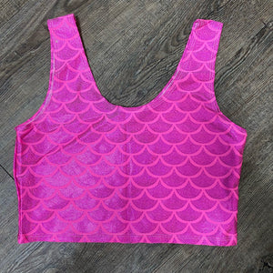 SALE - MEDIUM Hot Pink Mermaid Crop Tank Top - Peridot Clothing