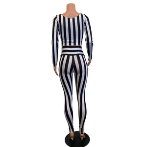 Beetlejuice Costume - Black & White Stripe Outfit - Peridot Clothing