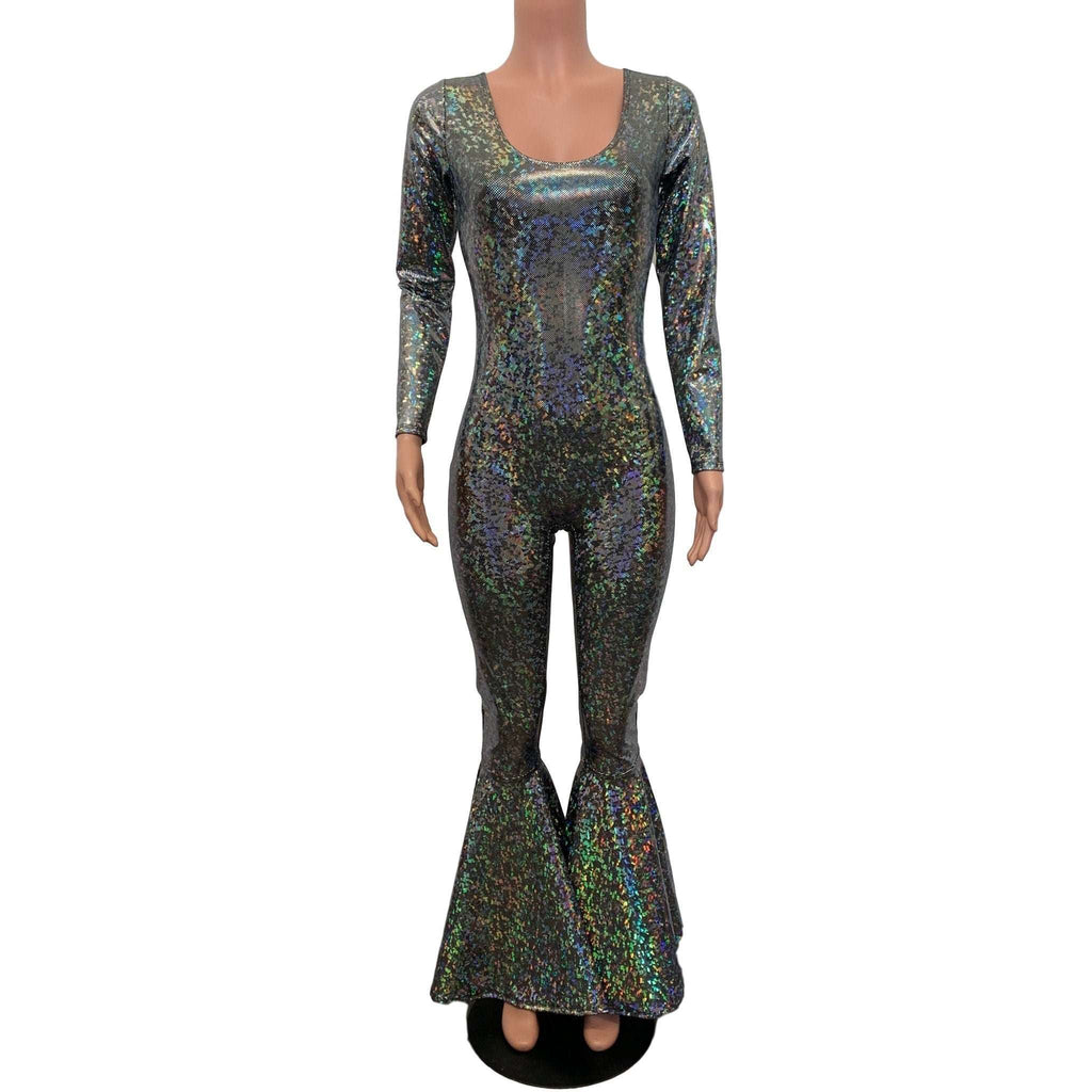 Bell Bottom Catsuit in Silver on Black Shattered Glass Holographic - Peridot Clothing