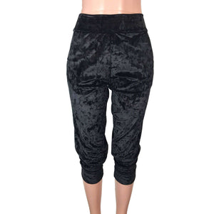 Black Crushed Velvet Joggers w/ Pockets] - Peridot Clothing