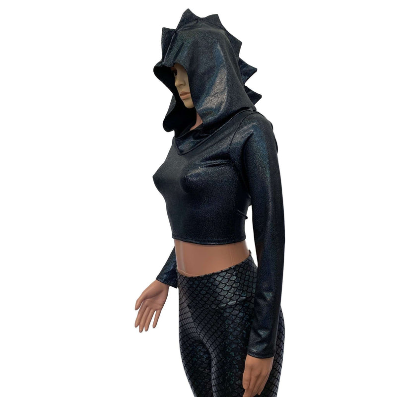 Black Dragon Spike Holographic Long Sleeve Hoodie Top - Peridot Clothing