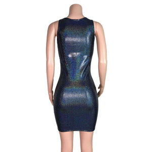 Black Holographic Bodycon Dress - Peridot Clothing