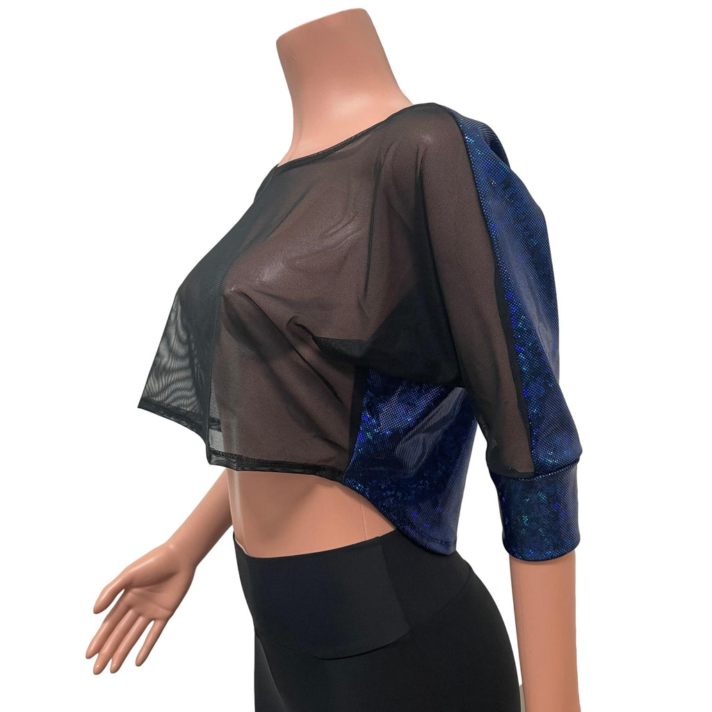 Dolman Crop Top Loose Tee in Black Mesh and Blue Holographic Shattered Glass - Peridot Clothing
