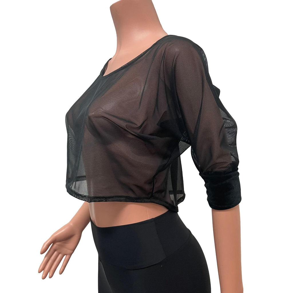 Dolman Crop Top in Black Mesh Sheer Loose Tee Rave Top - Peridot Clothing