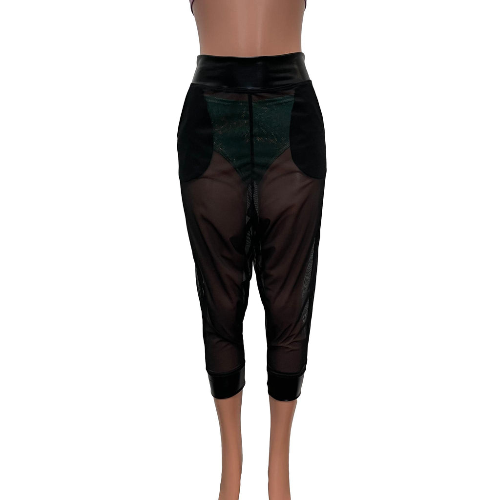 Harem Pants Drop-Crotch w/Pockets - Black Mesh Sheer Joggers - Peridot Clothing
