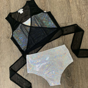 Black Mesh Wrap Top - Rave Tie Top - Choose Sleeve Length - Peridot Clothing