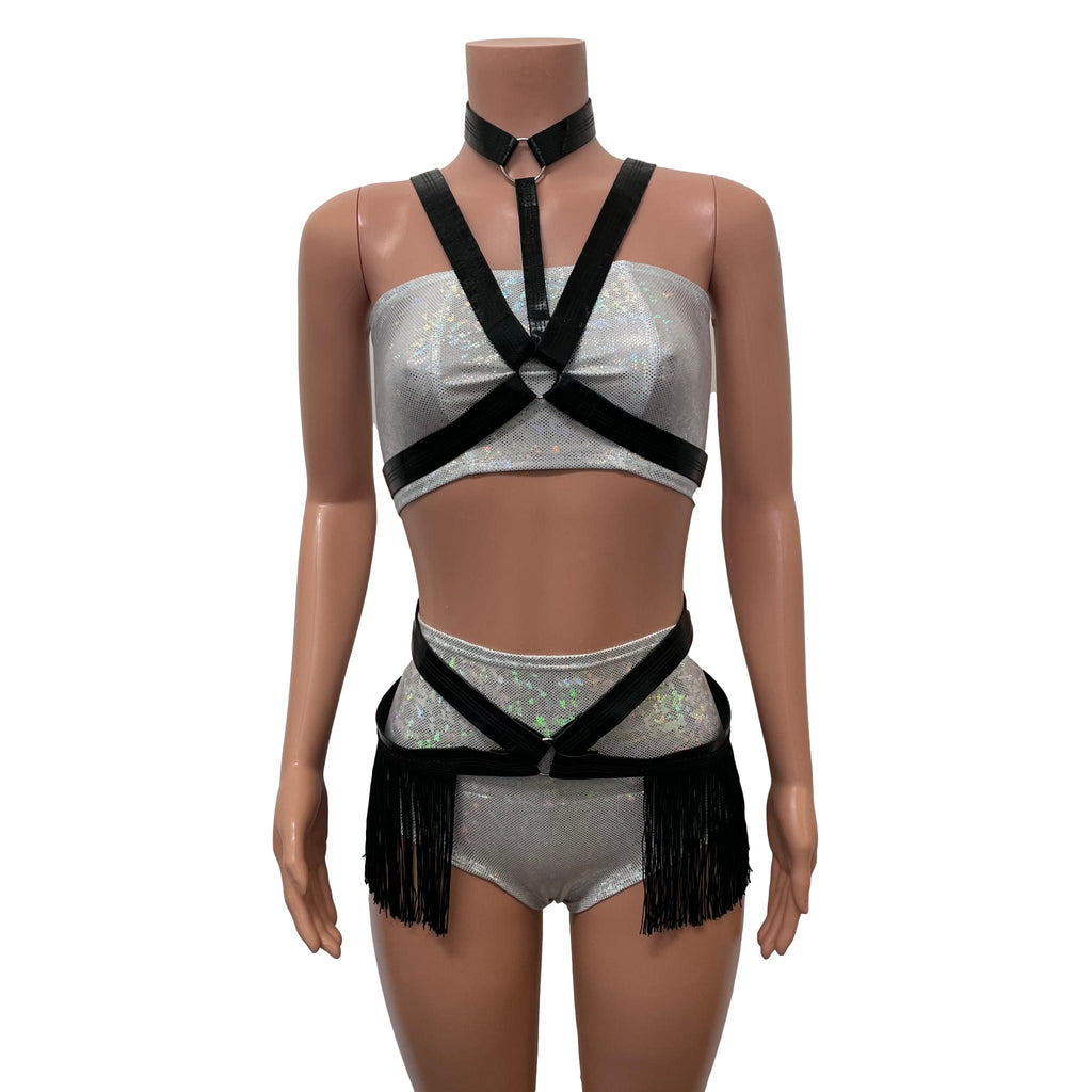 Fringe Harness Set in Black Metallic Faux Leather | Cage Bra Rave Body Harness Outfit w/ Fringe Skirt and Choker - Peridot Clothing