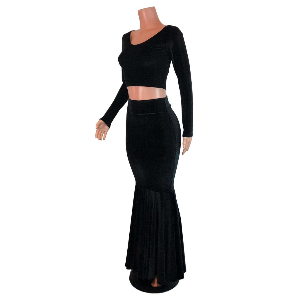 Black Velvet Morticia Outfit - Mermaid Long Fit n Flare Skirt and Long Sleeve Crop Top - Peridot Clothing