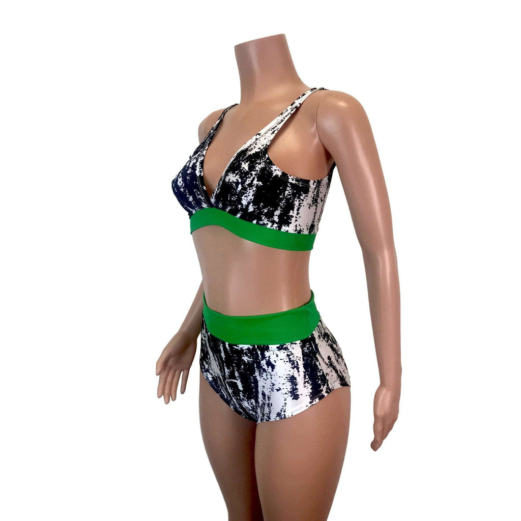 Black, White & Green High Waist Bikini Outfit - Peridot Clothing