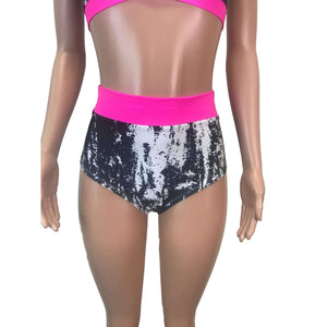 Black, White & Neon Pink High Waist Bikini Outfit - Peridot Clothing