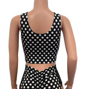 Black & White Polka Dot Mesh Inset Crop Top Tank - Peridot Clothing