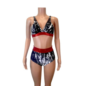 Black, White & Red Mystique High Waist Bikini Outfit - Peridot Clothing