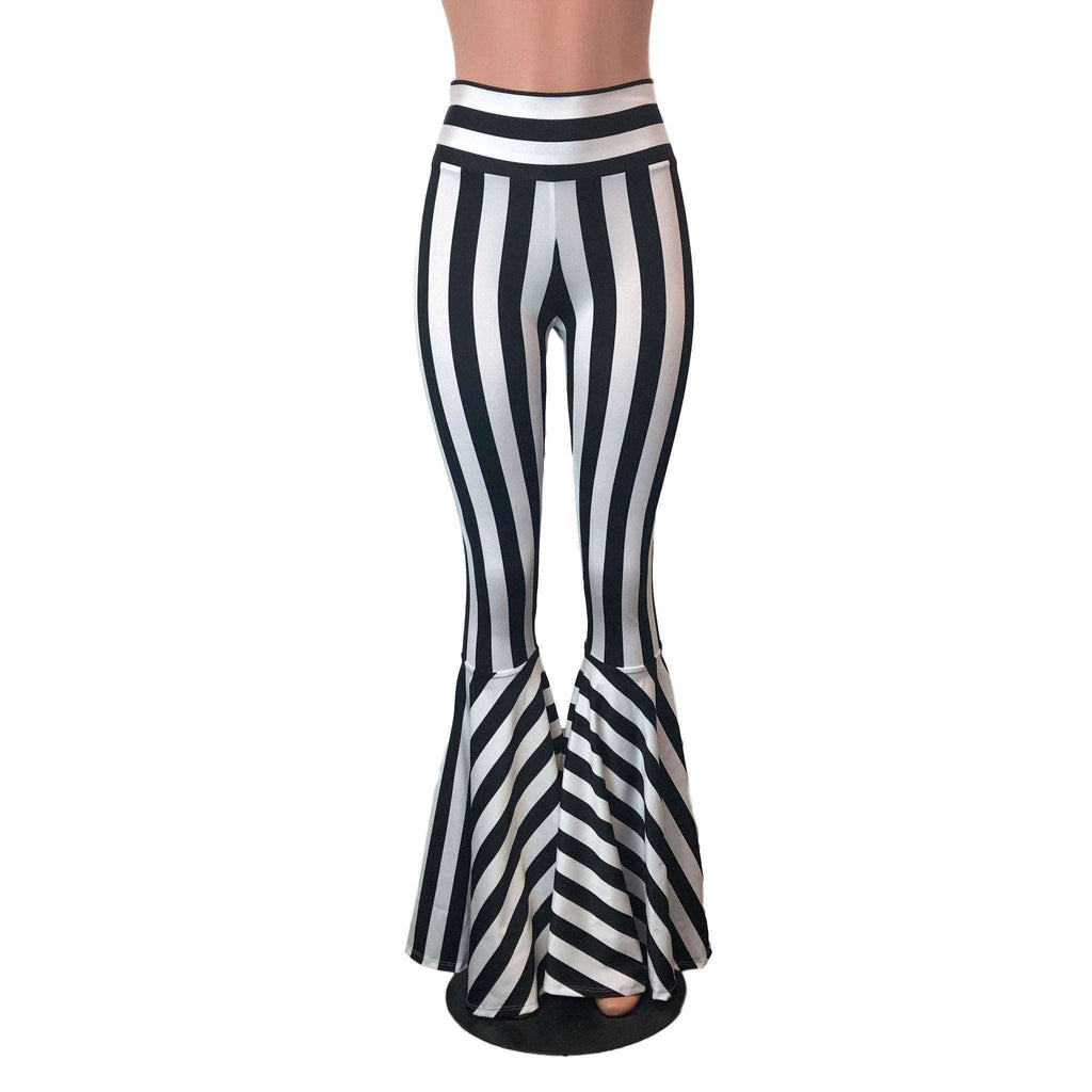 Black & White Striped Bell Bottoms -  Flare Pants - Choose your Rise - Peridot Clothing