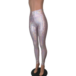 Blush Pink Shattered Glass Holographic Leggings Pants - Peridot Clothing