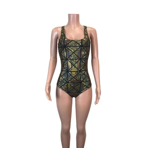 Bodysuit - Gold Glass Pane Holographic - Peridot Clothing
