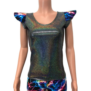 Bowie Sleeve Top - Gleaming Silver Holographic Long Sleeve or Cap Sleeve Full Length Top - Peridot Clothing
