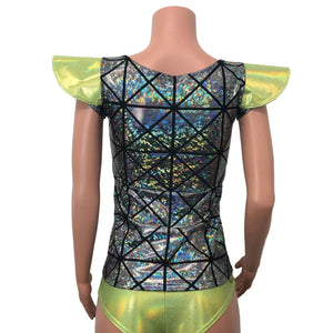 Bowie Sleeve Top - Silver Glass Pane Holographic Long Sleeve or Cap Sleeve Full Length Top - Peridot Clothing