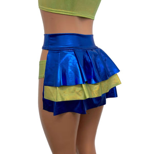 Bustle Skirt in Blue Metallic & Lime Holographic - Peridot Clothing