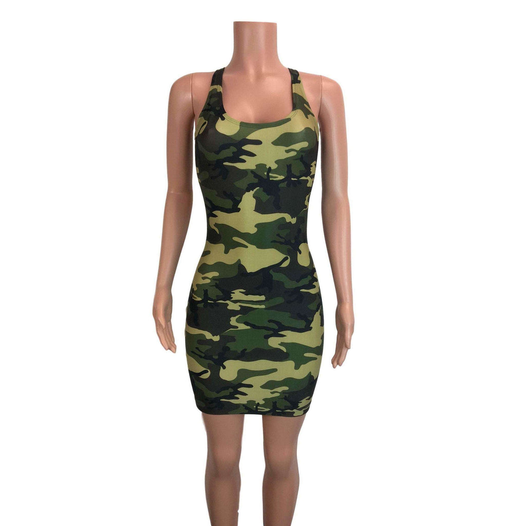 *Disontinued - Camo or Camouflage Bodycon Tank Dress - Final Sale SMALL - Peridot Clothing