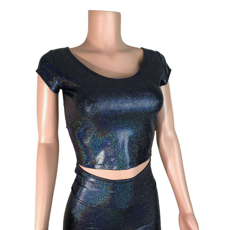 Cap Sleeve Crop Top - Black Holographic - Peridot Clothing