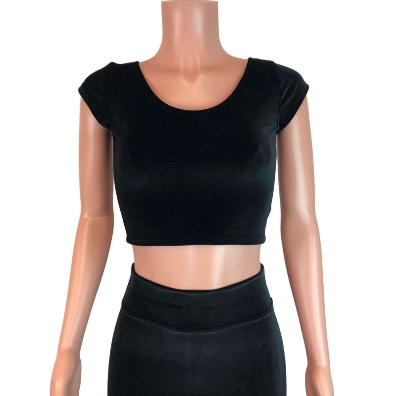 Cap Sleeve Crop Top - Black Velvet - Peridot Clothing