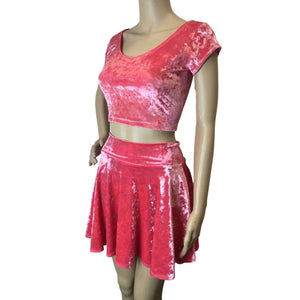 *Discontinued - SMALL Cap Sleeve Crop Top - Coral Pink Crushed Velvet - Final Sale - Peridot Clothing