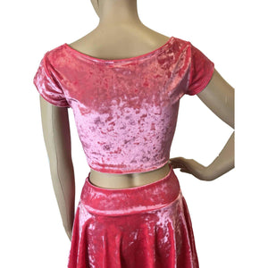 *Discontinued - Cap Sleeve Crop Top - Coral Pink Crushed Velvet - Final Sale - Peridot Clothing